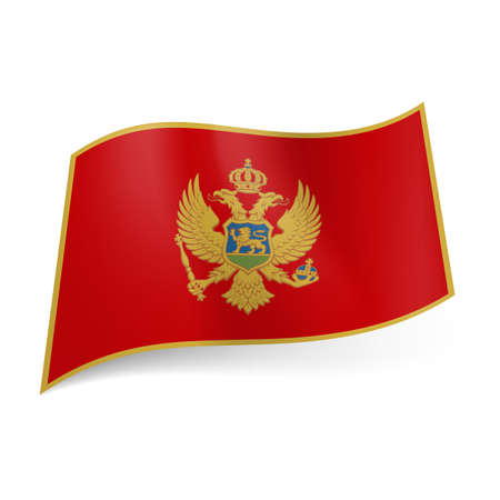 golden eagle: National flag of Montenegro: red field bordered with golden line, double-headed eagle in center. Illustration