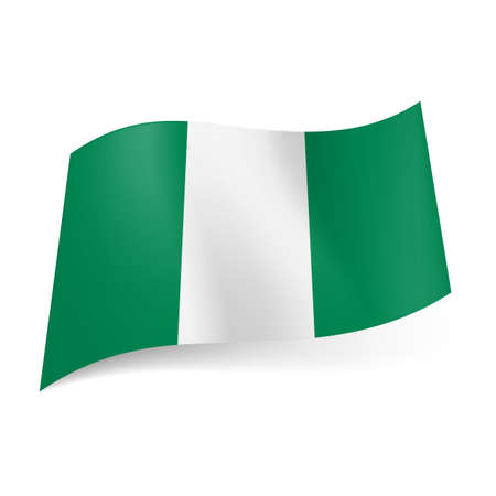 nigeria: National flag of Nigeria representing three vertical stripes: white between green ones.