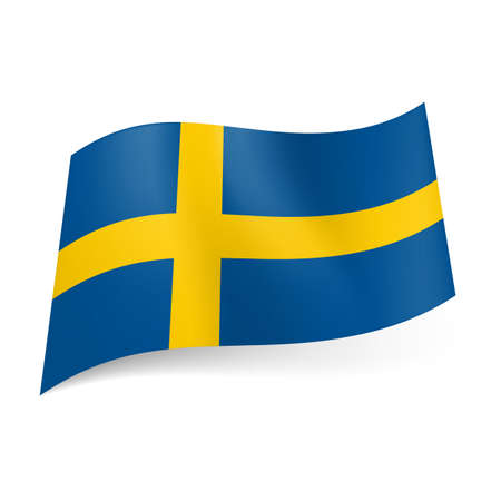 National flag of Sweden: yellow cross on blue background.