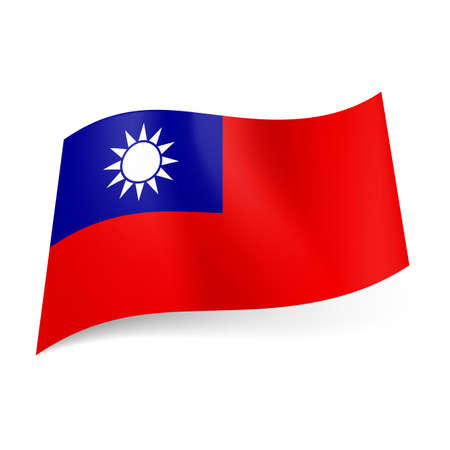 the republic of china: National flag of Taiwan, Republic of China: blue square with white sun in upper left corner of red field.
