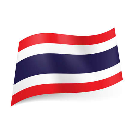 ones: National flag of Thailand: wide blue stripe between two white and then red ones.