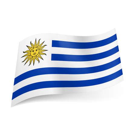 bandera de uruguay: Bandera nacional de Uruguay: rayas horizontales blancas y azul con la imagen del sol en la esquina superior izquierda con. Vectores