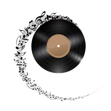 Disco in vinile con le note di musica che volano in spirale. Effetto del record di rotolamento. Illustrazione su sfondo bianco.