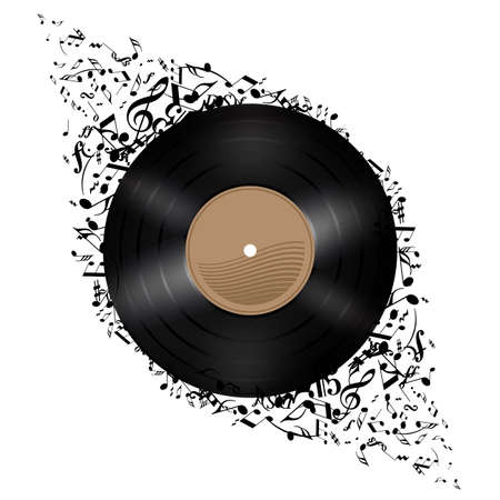 Vinyl disc with music notes flying out. Illustration on white background. Vector