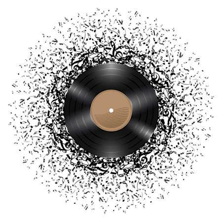 주위 음악 노트의 질량 비닐 디스크. 흰색 배경에 그림입니다.
