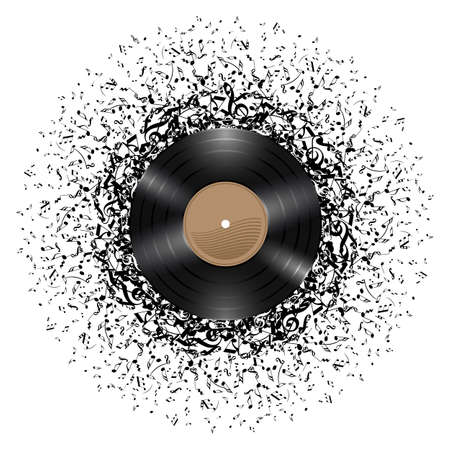 Vinyl disc with mass of music notes around it. Illustration on white background. Stok Fotoğraf - 21924641