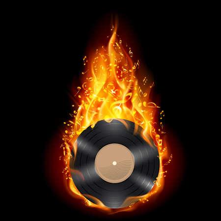 Burning vinyl record met vurige noten. Heldere illustratie op zwarte achtergrond.