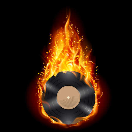 Burning vinyl record with fiery notes. Bright illustration on black background. Vector