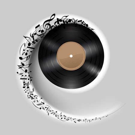 Vinyl schijf met muziek noten vliegen in witte spiraal. Effect van rollend record. Illustratie op grijze achtergrond.