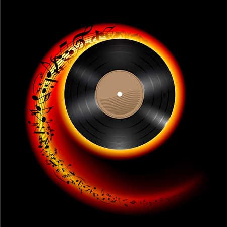 음악 노트 불꽃 색상의 나선형에서 비행 비닐 디스크. 롤링 기록의 효과. 검은 배경에 그림입니다.