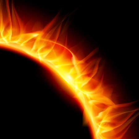 partial: Vista parcial de la ardiente corona solar. Ilustraci�n sobre fondo negro.