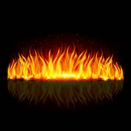 Wall of fire with weak reflection on black background.  Stock Vector - 21943852