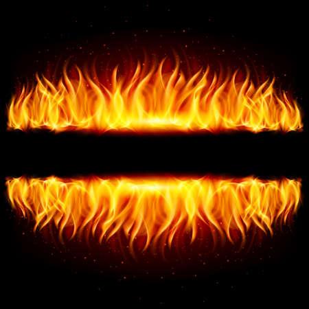 reflejo en espejo: Murallas de fuego en el reflejo del espejo con espacio en blanco entre ellos. Ilustraci�n sobre fondo negro.