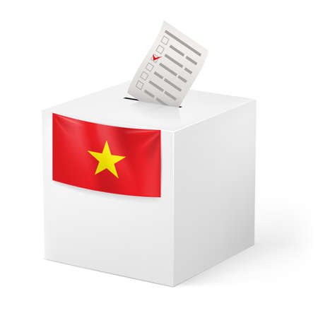 Election in Vietnam: ballot box with ticked voicing paper isolated on white background. Stock Vector - 21943860