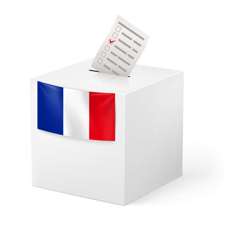 Election in France: ballot box with voicing paper isolated on white background. Vector