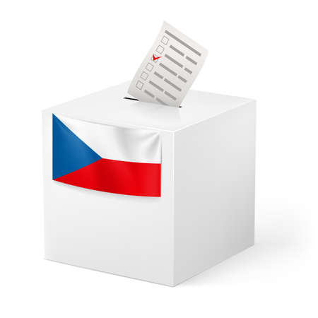 elector: Election in Czech Republic: ballot box with voicing paper isolated on white background.