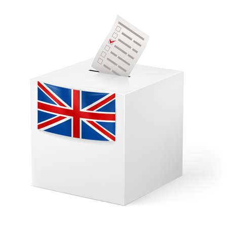 opinion poll: Election in Great Britian: ballot box with voicing paper isolated on white background.