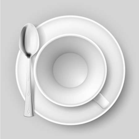 bar ware: Empty cup with spoon on saucer. Illustration on white background.
