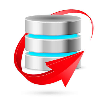 Database icon with update symbol presented as red curved arrow. Illustration on white.