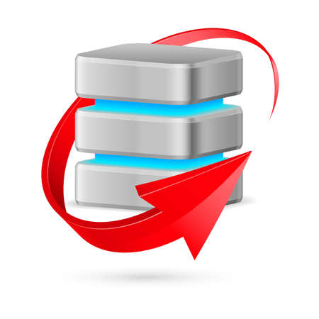 Database icon with update symbol - red curved arrow. Illustration on white. Vector