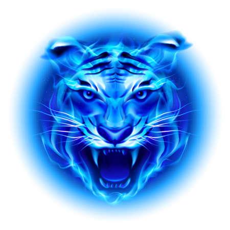 Jefe de bomberos tigre en azul. Ilustración sobre fondo blanco.