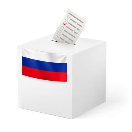 federation: Election in Russian Federation: ballot box with voicing paper isolated on white background.