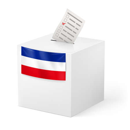 elector: Election in Yugoslavia: ballot box with voicing paper isolated on white background.