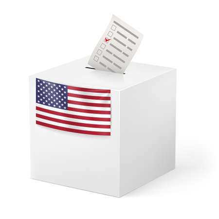 decide: Election in United States of America: ballot box with voicing paper isolated on white background. Illustration