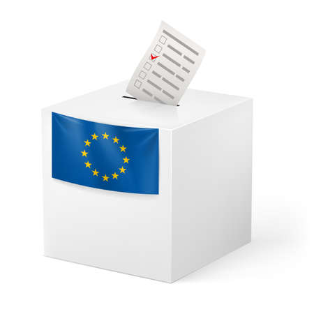 ballot: Election in European Union: ballot box with voicing paper isolated on white background.