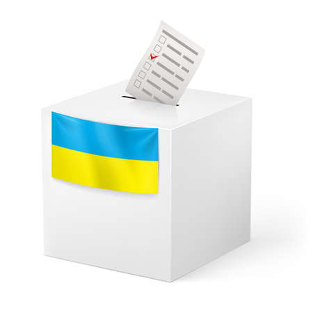 balloting: Election in Ukraine: ballot box with voicing paper isolated on white background.