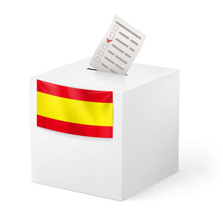 elector: Election in Spain: ballot box with voicing paper isolated on white background.
