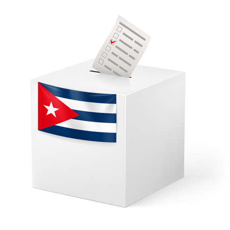 Election in Cuba: ballot box with voicing paper isolated on white background. Vector