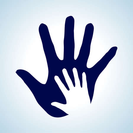 nursing mother: Hand in hand illustration in white and blue. Idea of help, assistance and cooperation. Illustration