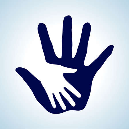 nursing mother: White and blue  illustration of hand in hand. Concept of help, assistance and cooperation.