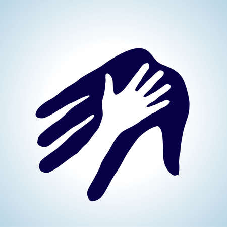 Illustration of helping hand in white and blue. Concept of help, assistance and cooperation.