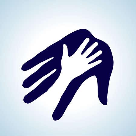 Ilustración de la mano amiga en blanco y azul. Concepto de ayuda, asistencia y cooperación. Ilustración de vector