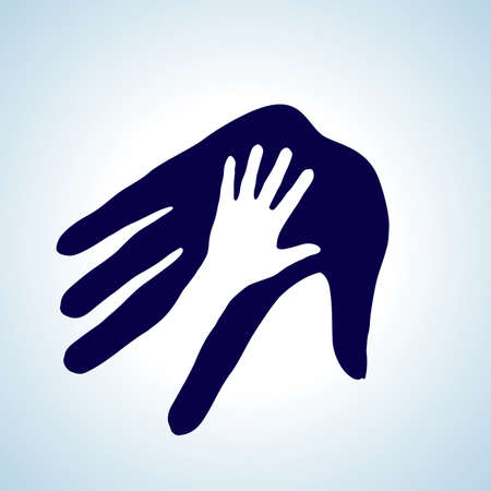 nursing mother: Hand in hand illustration in white and blue. Help, assistance and cooperation concept.