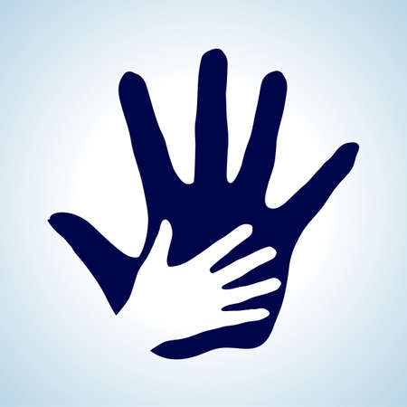 nursing mother: Hand in hand illustration in white and blue. Help, assistance and cooperation idea.
