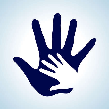 nursing mother: Hand in hand illustration in white and blue as concept of help, assistance and cooperation. Illustration