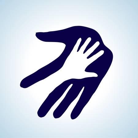 Niños ayudando: Ayudar a mano ilustración en blanco y azul. Concepto de ayuda, asistencia y cooperación.