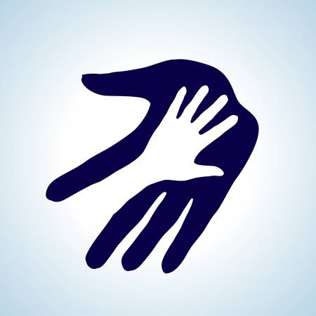helping children: Helping hand illustration in white and blue. Concept of help, assistance and cooperation.