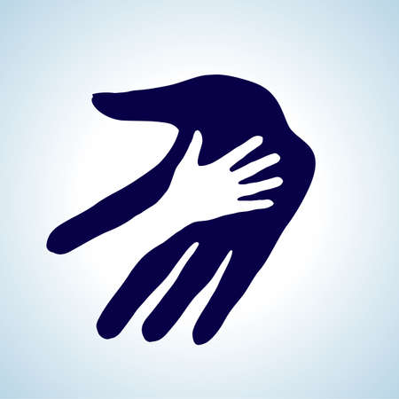 hope: Hand in hand illustration in white and blue. Help, assistance and cooperation symbol.