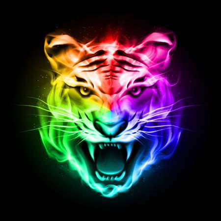 Head of tiger blazing in spectrum fire on black background.