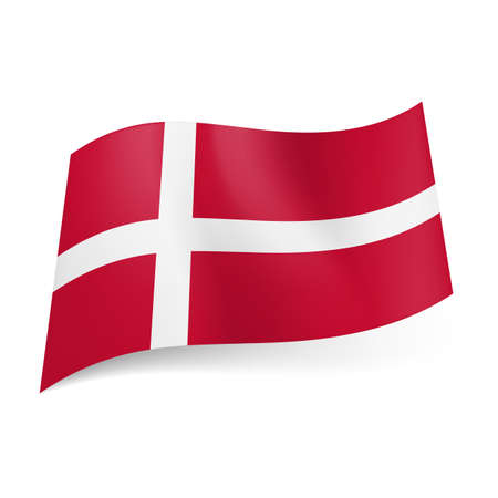 National flag of Denmark: white Scandinavian cross on red background. Stock Vector - 22015378