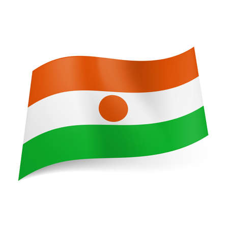 niger: National flag of Niger: orange, white and green horizontal stripes with orange circle in the middle.
