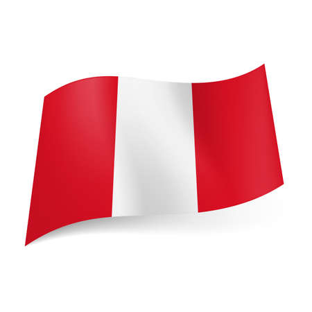 National flag of Peru presented as three vertical stripes: white between red. Vector