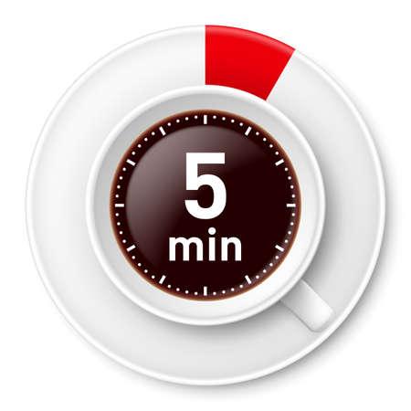 Taza de café con límite de tiempo para las vacaciones: cinco minutos. Ilustración sobre fondo blanco.