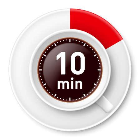 Tazza di caffè con il termine di pausa: dieci minuti. Illustrazione su sfondo bianco. Vettoriali