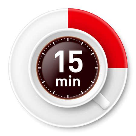Tazza di caffè con limite di tempo per la pausa: minuti di fine. Illustrazione su sfondo bianco Archivio Fotografico - 22015399