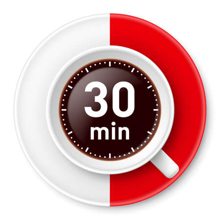 half full: Cup of coffee with time limit for break: thirty minutes. Illustration on white background. Illustration